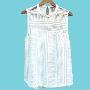 H&M White Lace Sleeveless Blouse Size L